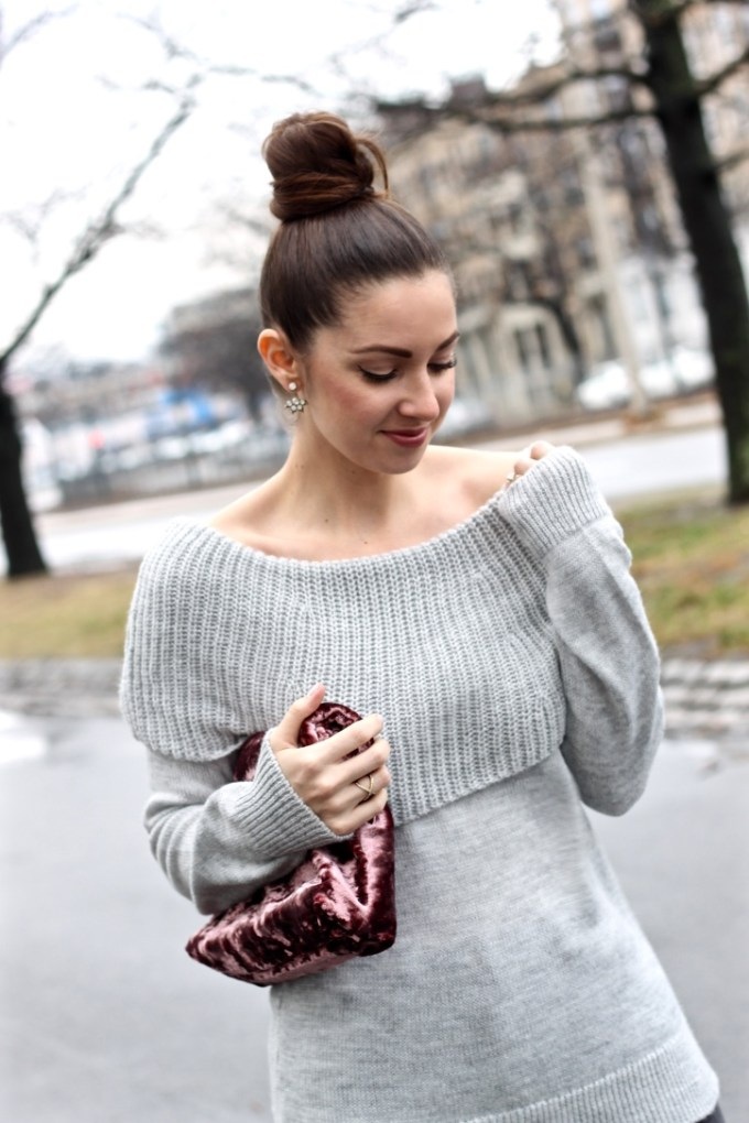 Grey Knit Off-the-shoulder sweater, crushed velvet foldover clutch