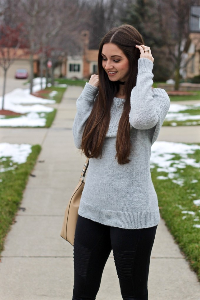 Grey chunky knit over-the-shoulder sweater, black velvet choker, MAC Yash nude lipstick