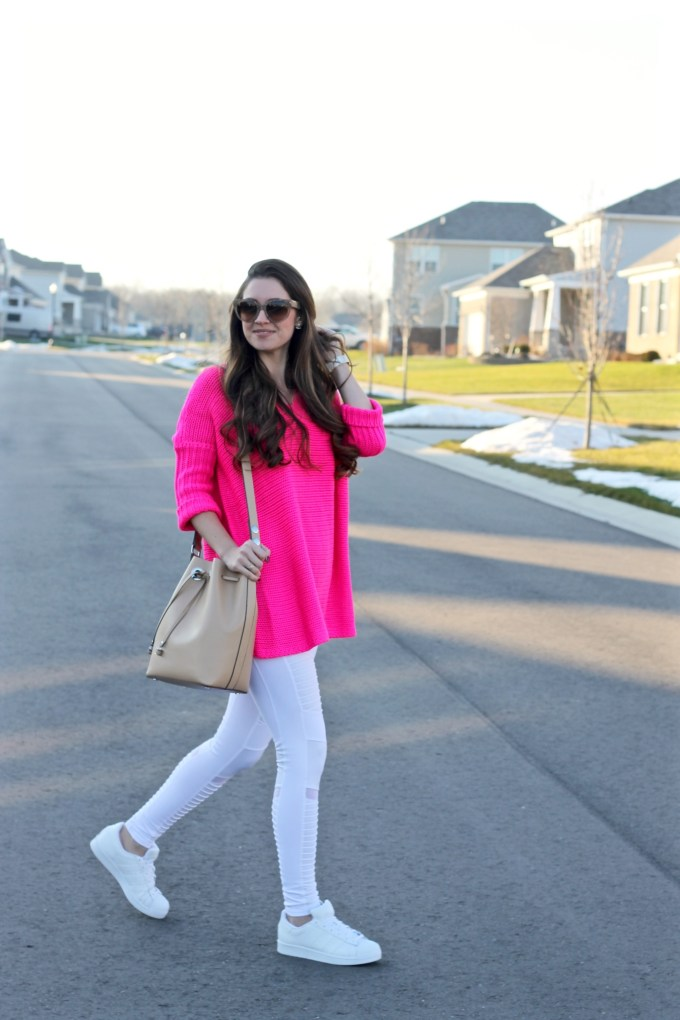 Noisy May Hot Pink Oversized Crochet Sweater, Alo Yoga White Moto Leggings, White Adidas Superstar Originals