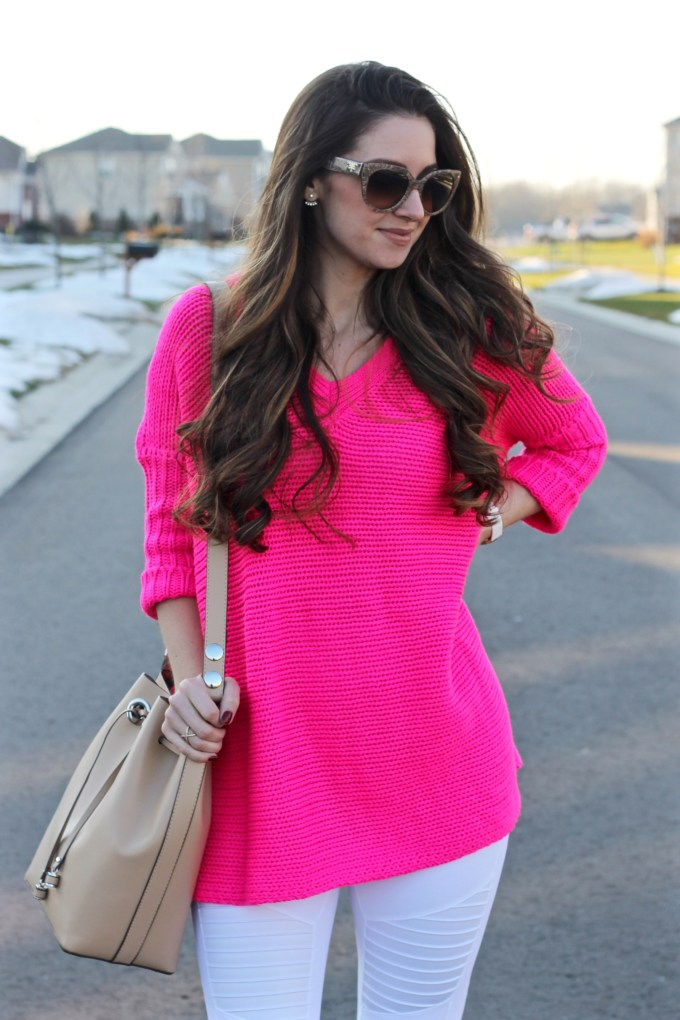 Noisy May Hot Pink Oversized Crochet Sweater