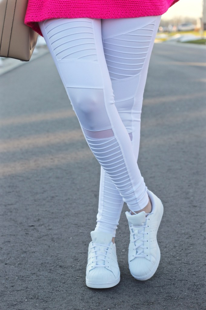 Alo Yoga White Moto Leggings, White Adidas Superstar Originals