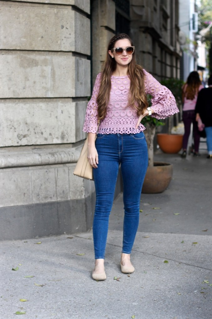 Style Mafia Kiana Top in Mauve Pink, Lavender Eyelet Top with Bell Sleeves