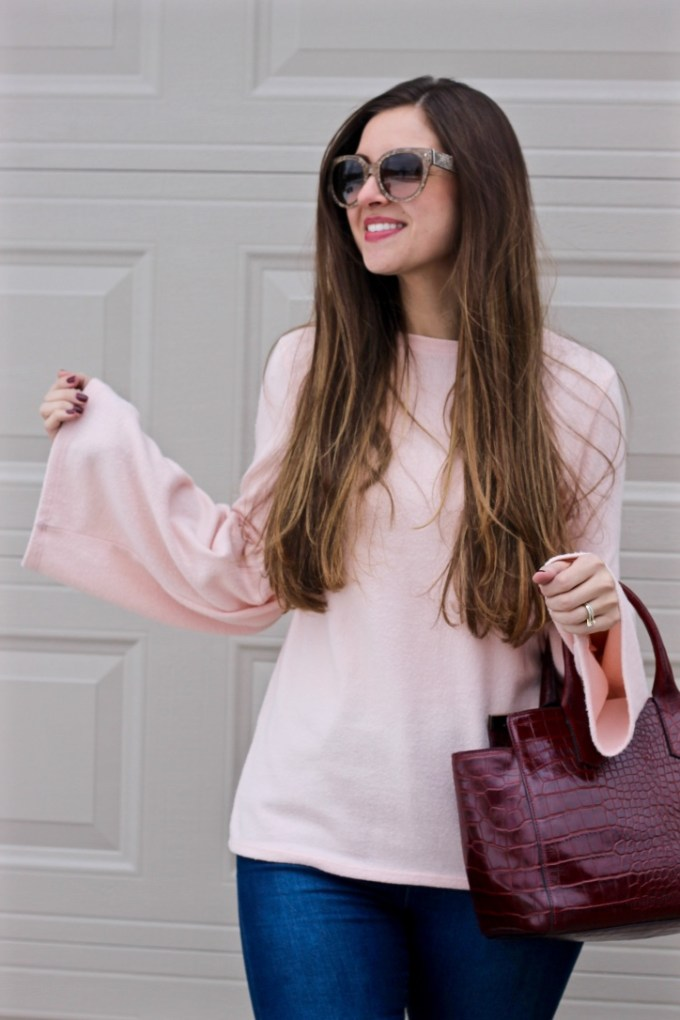Zara Pale pink soft touch sweater with bell sleeve, Valentine's Day Outfit