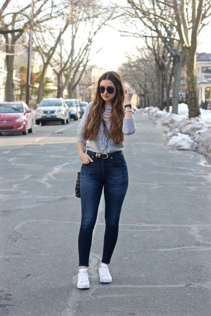 Grey Lace-up Front Sweater, White Adidas Sneakers
