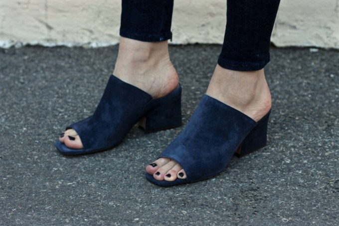 Banana Republic Blue Suede Peep-toe Mule