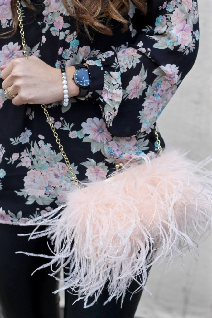 Black Floral Choker Blouse, Fuzzy Blush Purse, Black Luxe Christian Paul Watch