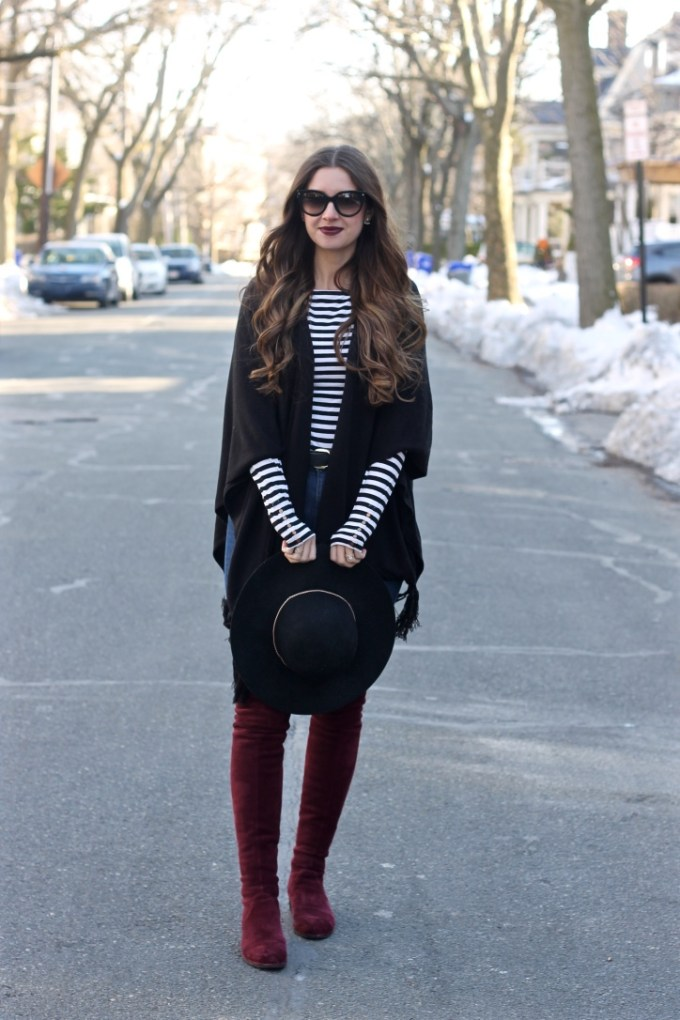 Black fringe poncho, black ruana with striped top, Burgundy OTK boots