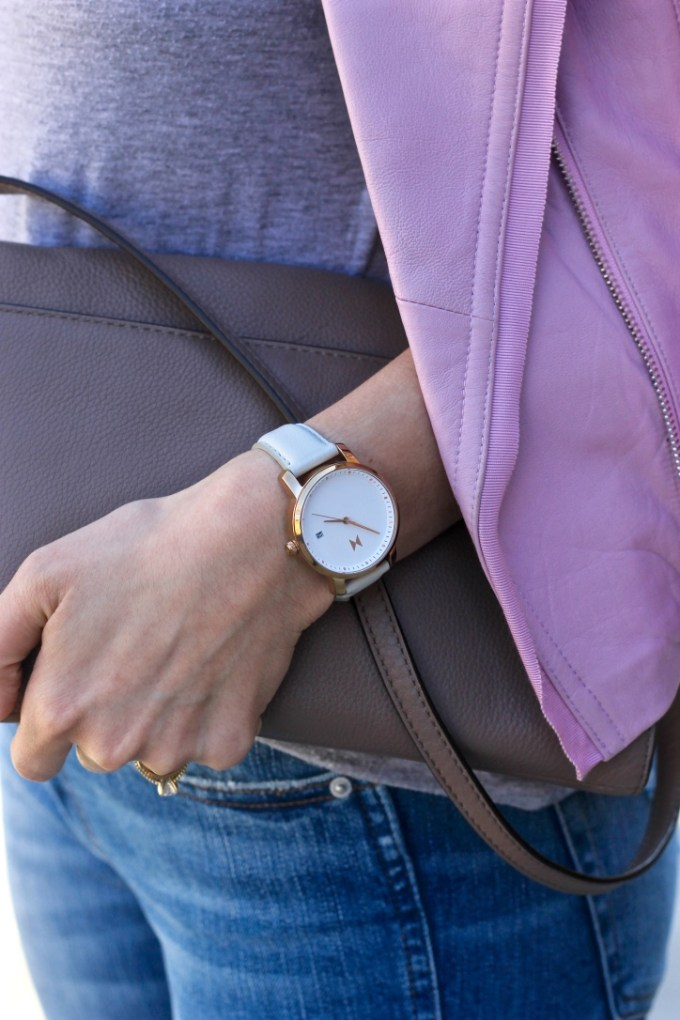 MVMT Women's Grey Leather Minimalist Watch