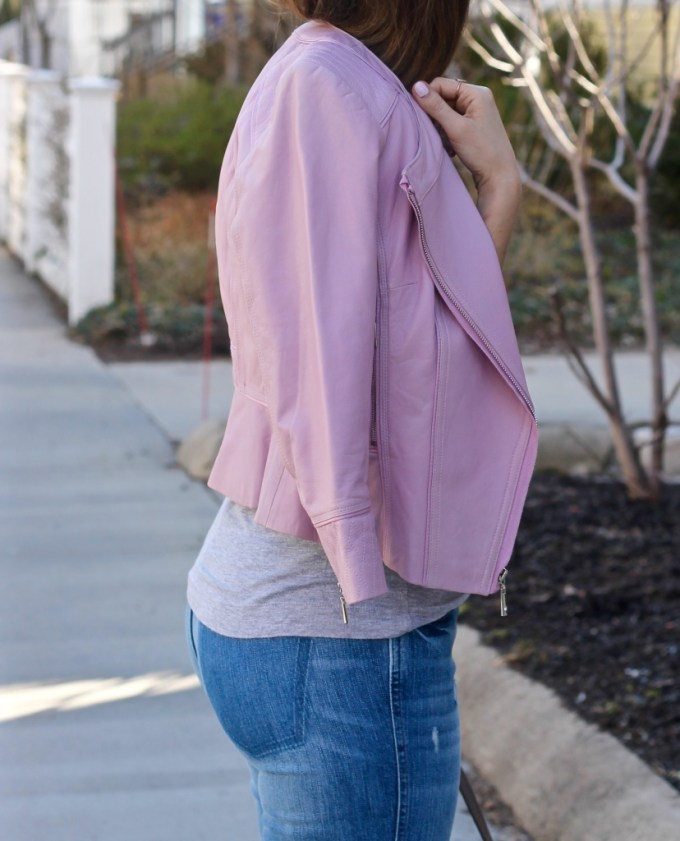 Blush Pink Leather Jacket