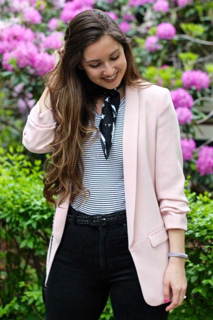 Zara Blush Crepe Blazer, Black & White Neckerchief