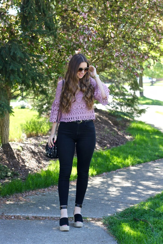 Style Mafia Lace Bell Sleeve Top