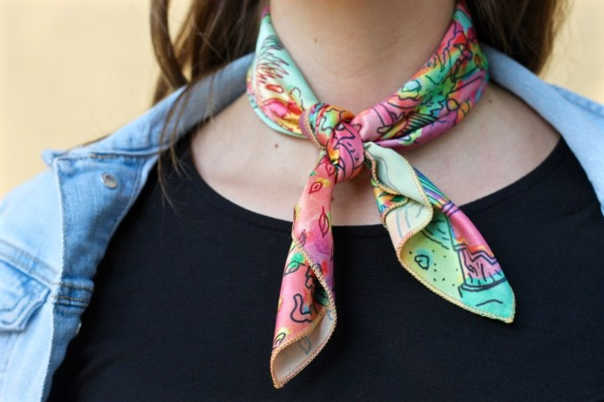Multi colored neckerchief, how to tie a bandana
