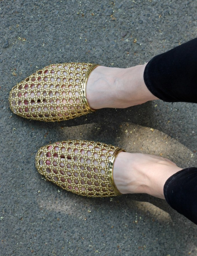 ASOS MARBLES Woven Mules, Gold slides