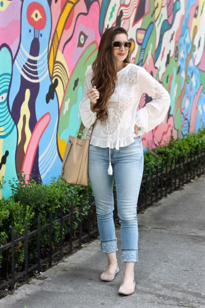 Zara embroidered lace blouse, Zara jeans with pearl beads
