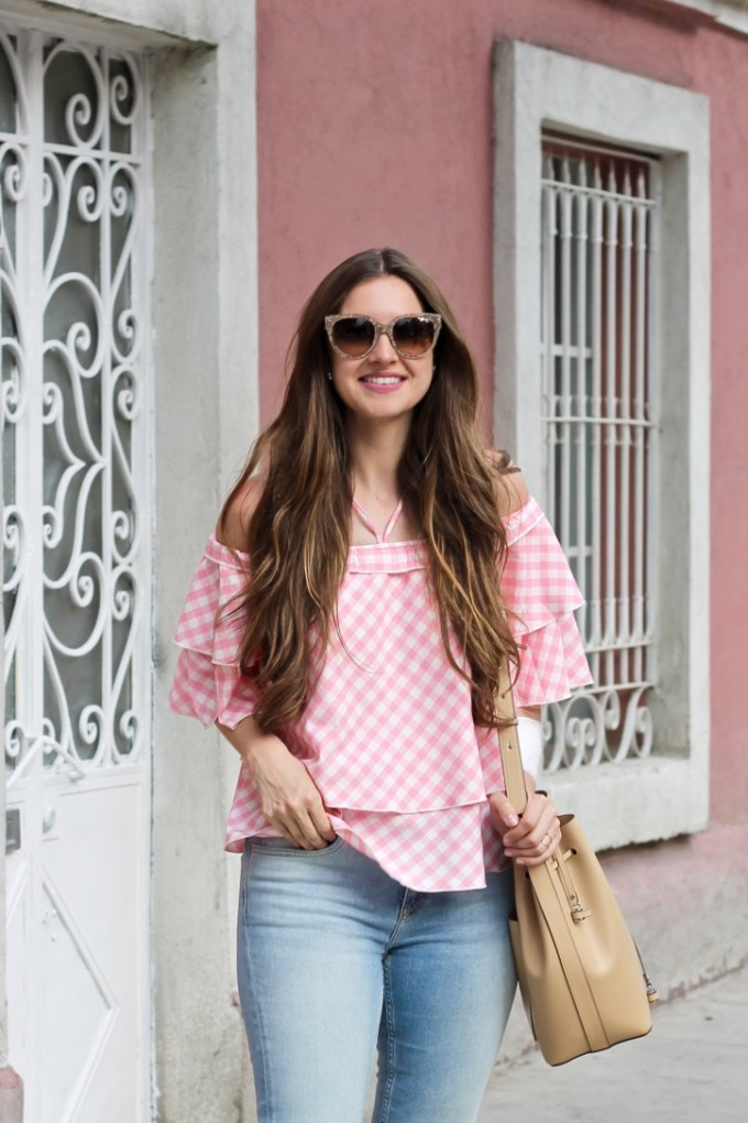 Missguided Off The Shoulder Pink Gingham Ruffle Top