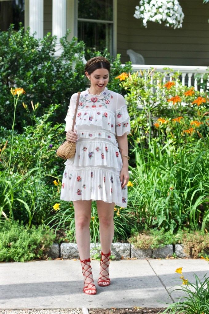 Zara Embroidered Mini Dress, Milkmaid Braids, Straw Purse, Schutz Erlina Sandals