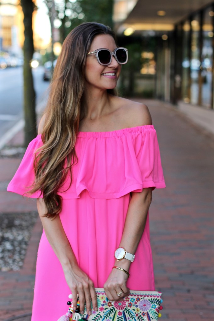 Off the shoulder hot pink ruffled dress