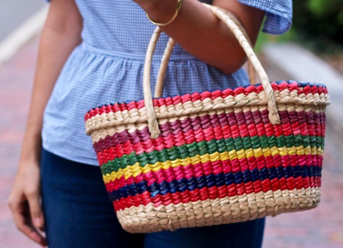 Off the shoulder blue gingham ruffled top, Mexican rainbow straw bag