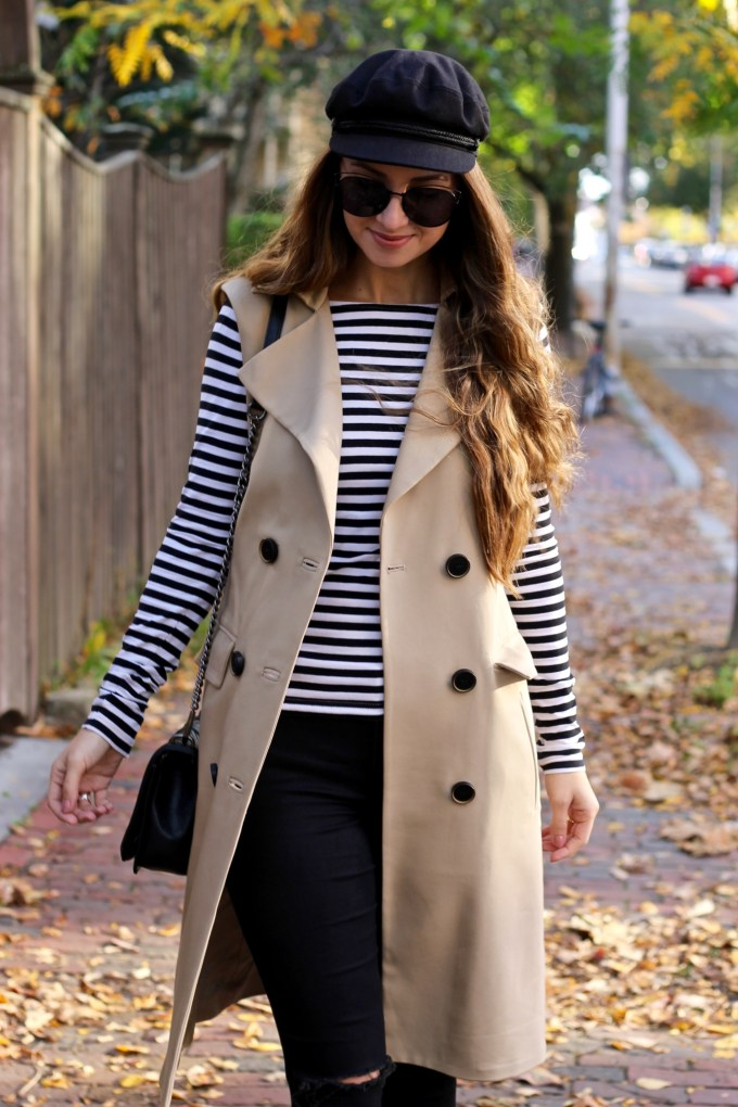 Sleeveless Trenchcoat, Newsboy hat