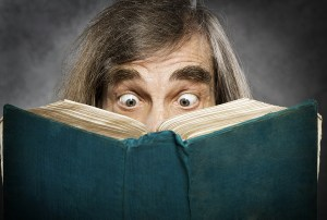 Senior Reading Open Book, Surprised Old Man, Amazing Eyes Lookin