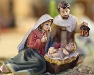 Nativity scene jesus child with Mary and Joseph with the lantern