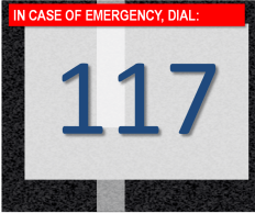 In case of road accidents, dial 117.