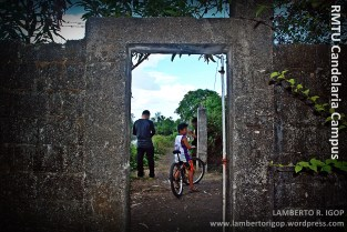 The gate. This is the divider between the campus and the fish ponds.