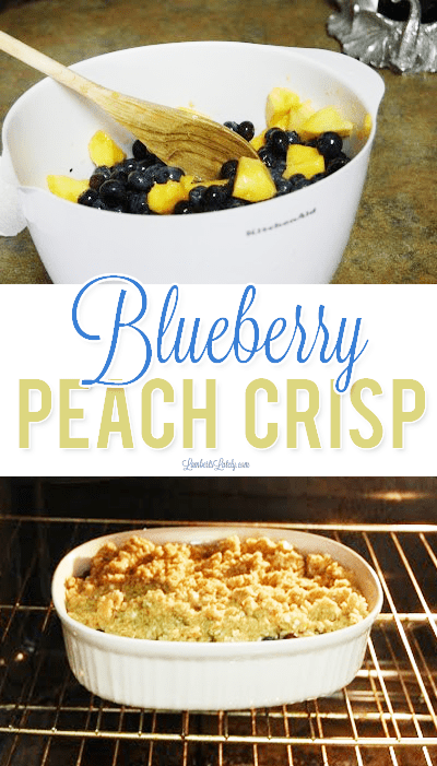 This easy recipe for Blueberry Peach Crisp uses no oats - has a wonderful flour/brown sugar crumble on top that gives it a warm crunch! Perfect with ice cream and can even be frozen.