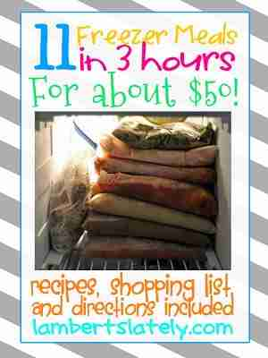 This site has 11 freezer meals you can make in 3 hours for about $50! Pin now, read later! https://www.lambertslately.com/2013/01/freezer-meal-boot-camp-11-meals-in-3.html