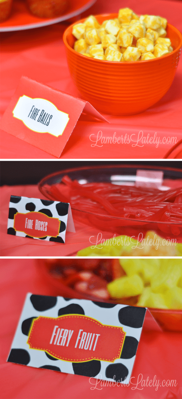 Great food table ideas for fireman/firetruck birthday party!  Menu and free printables included.