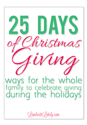 25 Days of Christmas Giving - great list of ways you can volunteer with children during the holidays!  Activities are appropriate for different ages of children, and the whole family can get involved on the activities.