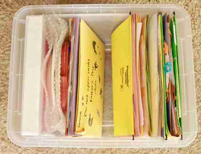 This post has great ideas for organizing school papers at home!  She shows how she showcases special school work and organizes everything into yearly folders.  Must read for moms of students!