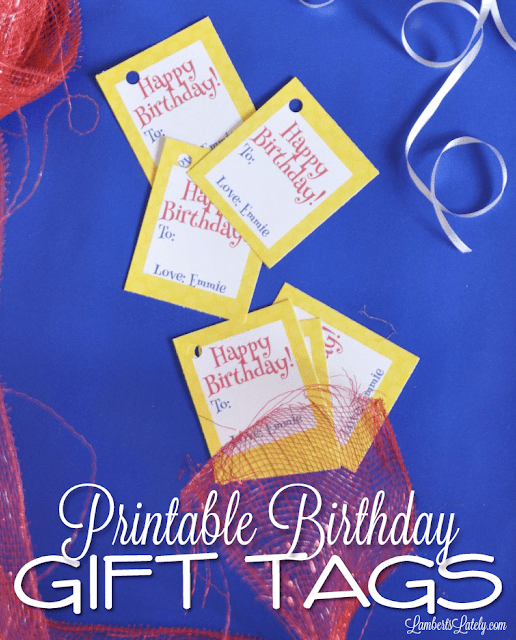 printable birthday gift tags || free yellow red blue blank || kids simple party