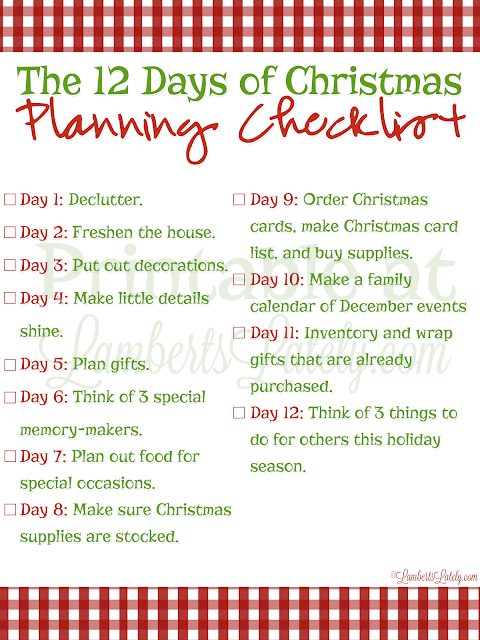 12 Days Of Christmas List.The 12 Days Of Christmas Planning Lamberts Lately