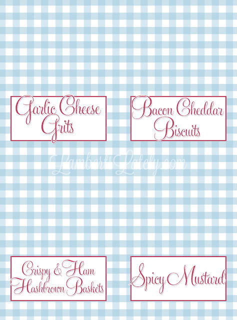love this menu for a southern christmas brunch free menu and food label printables included - Christmas Brunch Menus