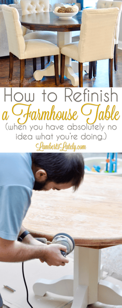 How to Refinish a Kitchen Table Farmhouse Style || DIY Stained Top Painted Base Legs || Ideas for a Wood Oak Table || Minwax Espresso Tabletop