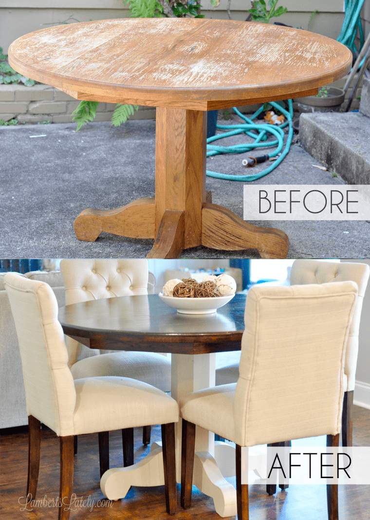 How to Refinish a Kitchen Table Farmhouse Style || DIY Stained Top Painted Base Legs & How to Refinish a Farmhouse Table (when you have absolutely no idea ...