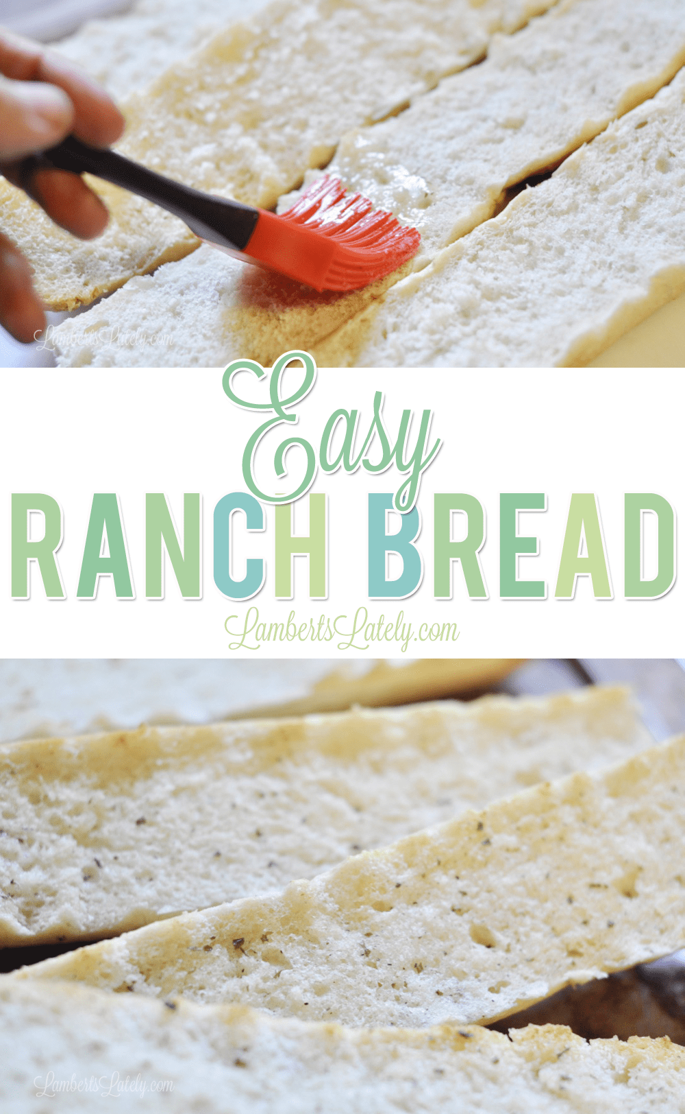 Easy Ranch Bread is a great weeknight last-minute side dish!  Uses bright flavors with rich butter to make crispy French bread with the perfect flavor.