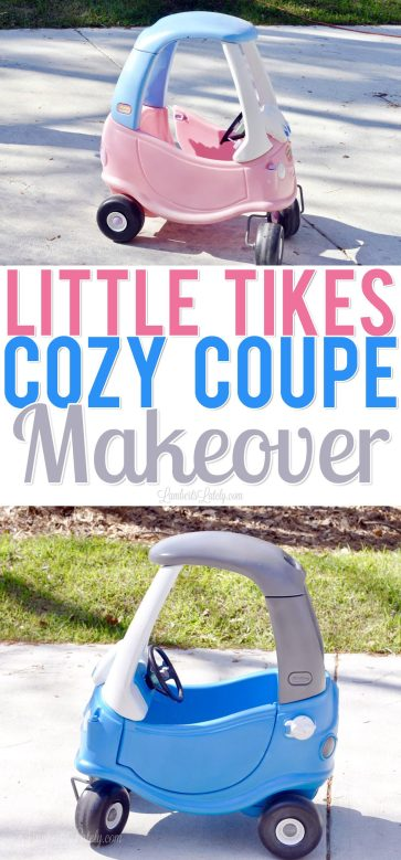 This is an awesome tutorial for how you can give a Little Tikes Cozy Coupe car a DIY makeover (for boys or girls) with simple cleaning and spray paint! Great project to do with kids.