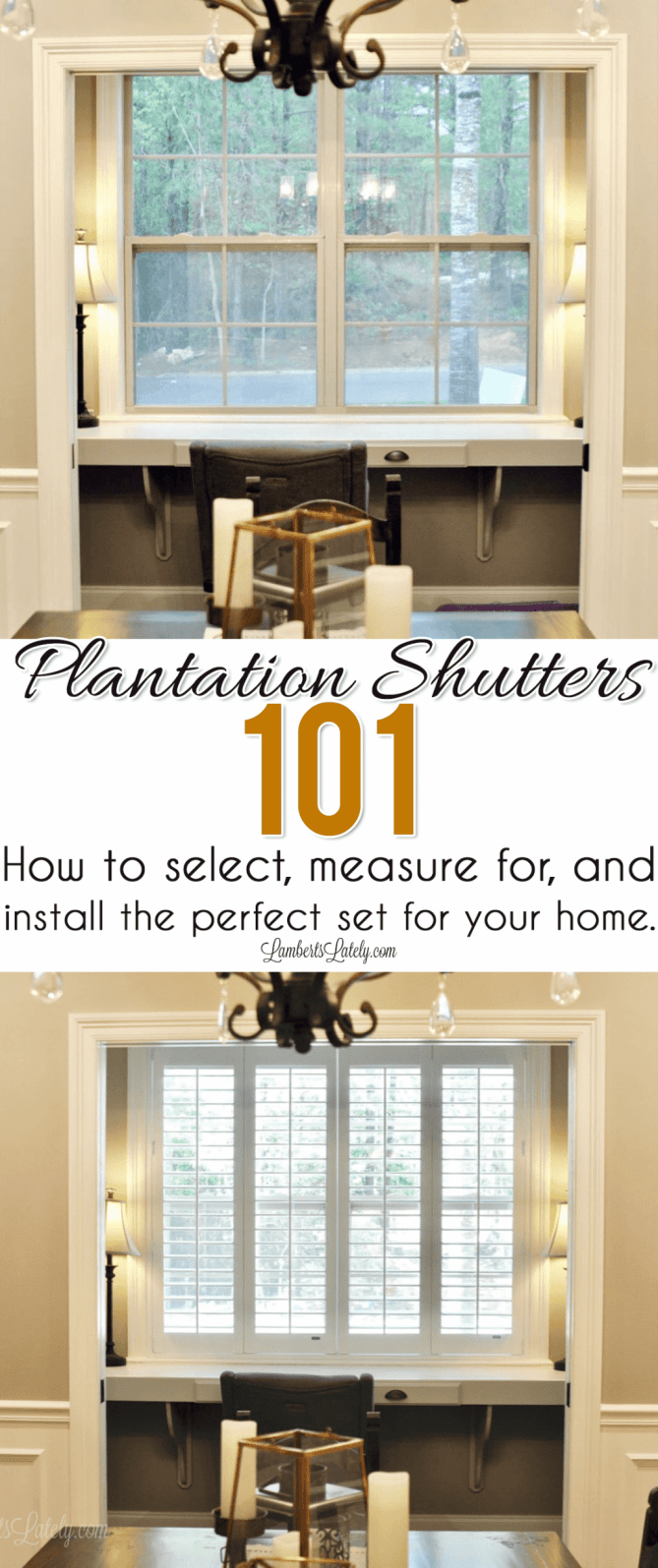 Ready to buy plantation shutters for your windows, but don't know where to start? This series walks you through the entire DIY process of selecting, measuring for, purchasing, and installing faux wood plantation blinds yourself, from before to after!