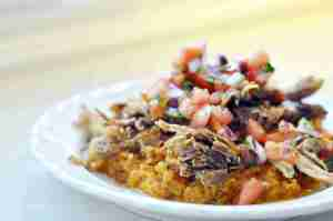 Pressure Cooker Carnitas Over Sweet Potato Mash (Part 9 – Best of Freezer Meal Boot Camps)