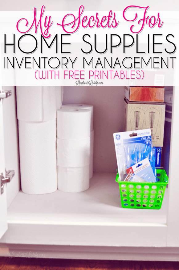 This post shows how to get organized (and stay organized) with home supplies - includes ways to organize toiletries, paper products, office supplies, and more.  Includes free inventory printable checklist printables!
