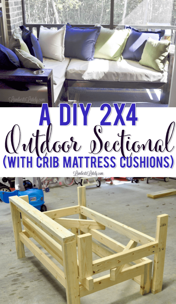 Yes, you can build furniture too!  This outdoor sectional sofa is a DIY that uses 2x4s and crib mattress as cushions to create a timeless and functional piece. Modified from the popular Ana White plan.