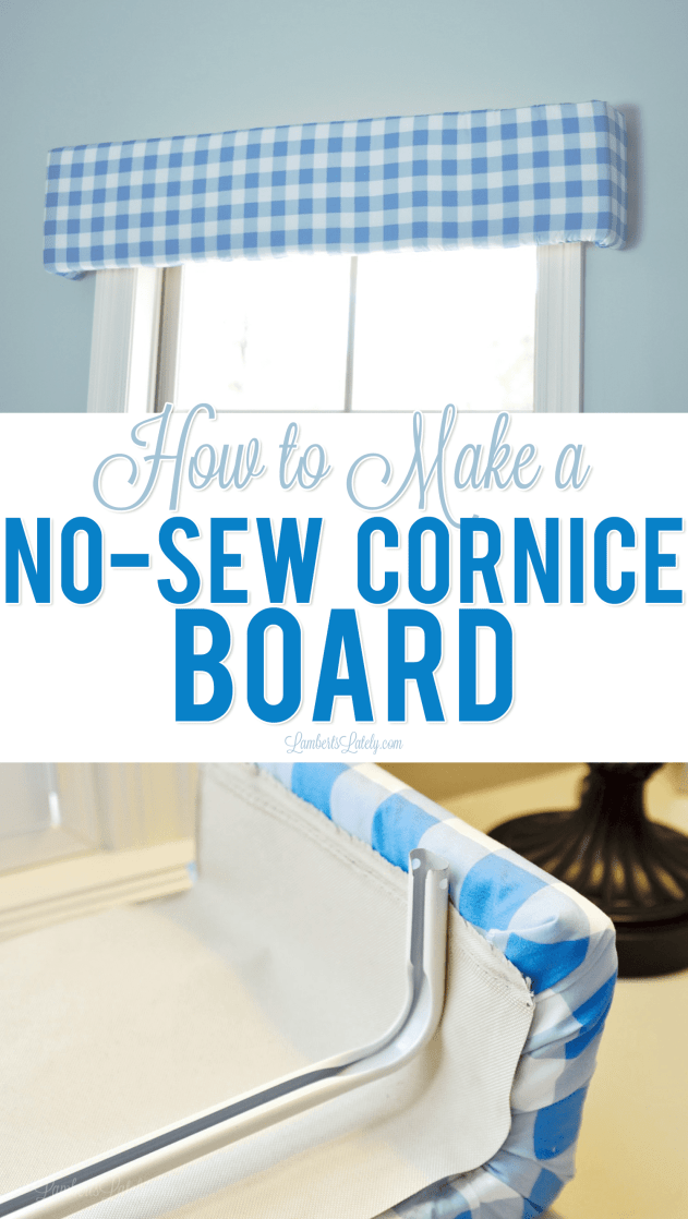 This tutorial on how to make a no-sew styrofoam cornice board is such an easy DIY project - looks so cute in a bedroom/nursery and is as easy as gluing and taping a few things in place!