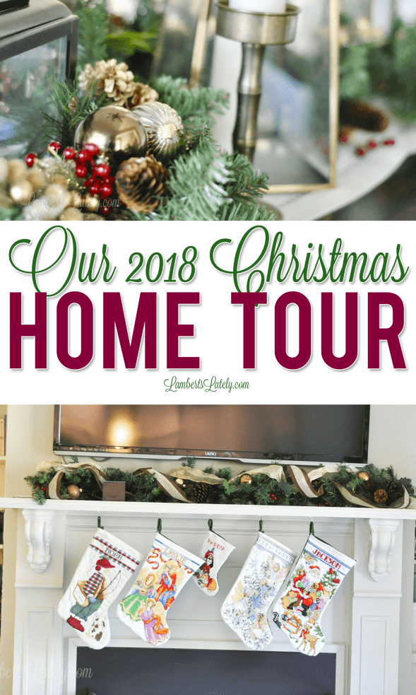 This 2018 Christmas Home Tour has decor ideas for a brown/blue color scheme, using a mix of vintage and traditional pieces in the foyer, kitchen, dining room, living room, and more!
