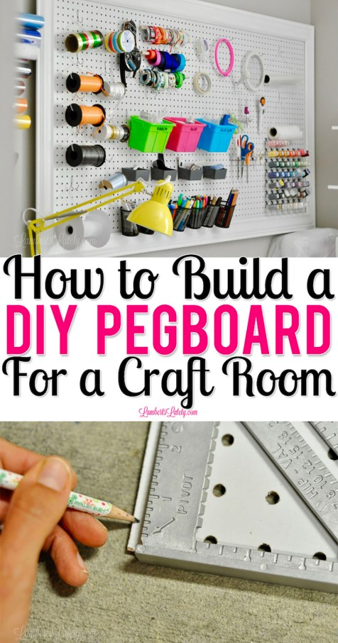 This tutorial for building a DIY pegboard for a craft room shows building, installation, and organization of a pegboard. See step by step instructions from how to build, how to hang, and how to make into a gorgeous decor piece!