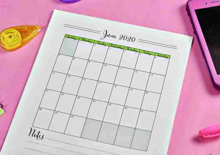 Grab a cute printable 2020 calendar collection for free! This is a vertical set - there's also info on how to get a horizontal/landscape version. Matches a full set of planner printables - great way to plan schedule and goals!