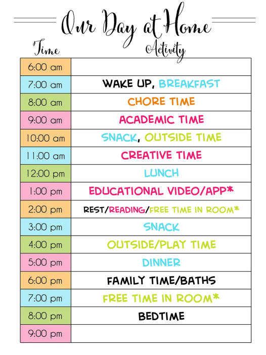 Looking to make an at-home schedule for kids during quarantine? Get tips for how to schedule your day, time management, daily routines, educational time for kids, and a list of online resources available.