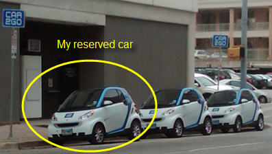 Car2Go reserved and ready