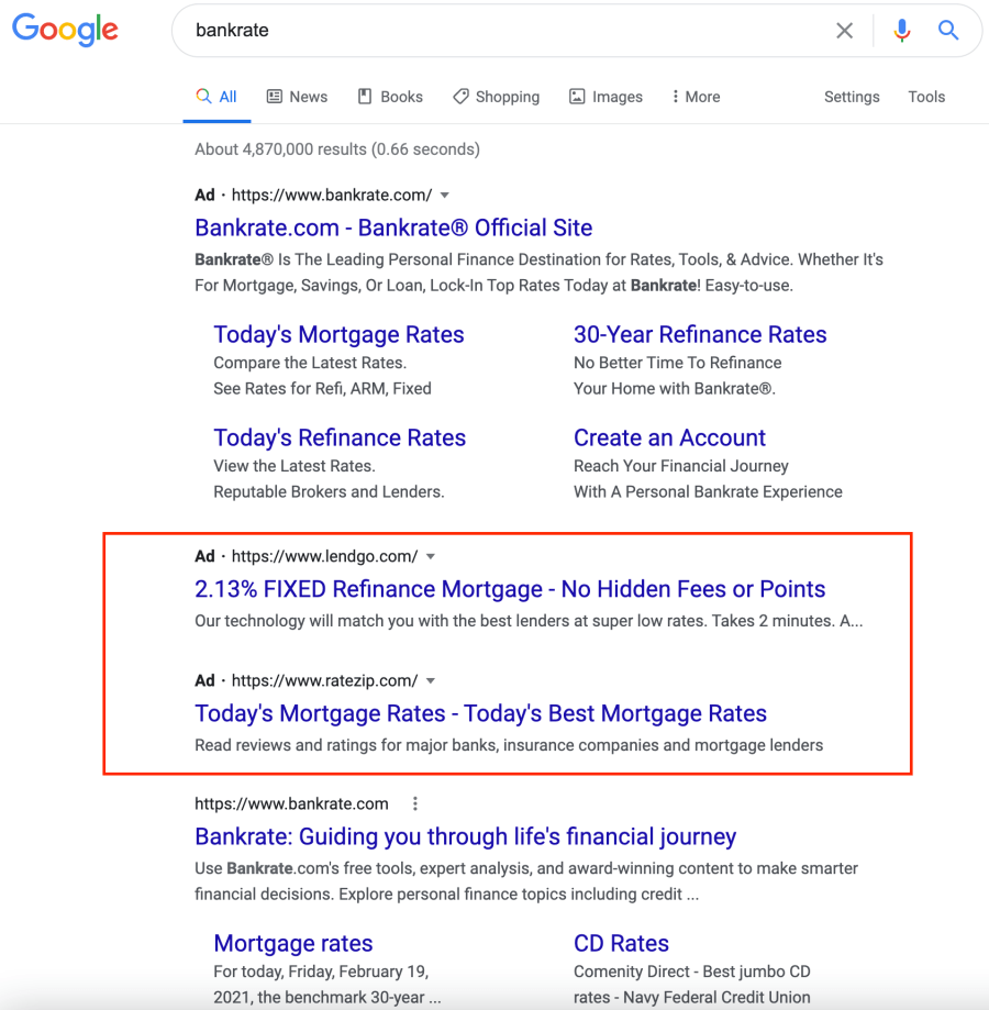 competitors bidding on bankrate in google ads